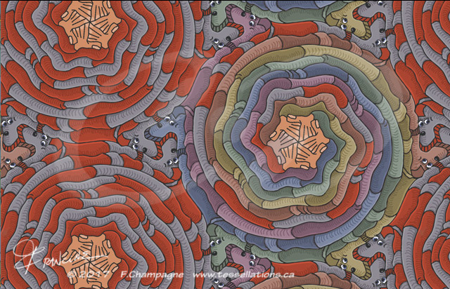 Sock Puppet tessellation by Francine Champagne, ©2014