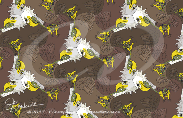 Bald Eagles tessellation by Francine Champagne, ©2013
