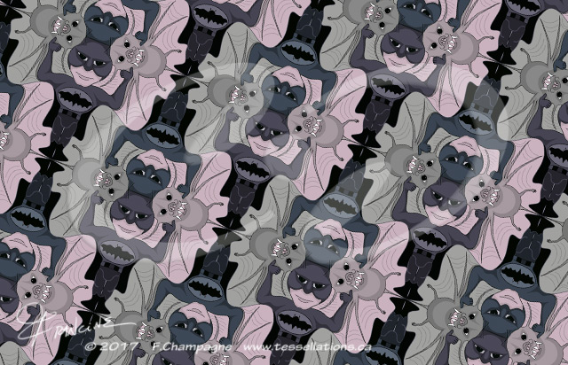 Batman and the Bat, a tessellation by Francine Champagne, ©2013