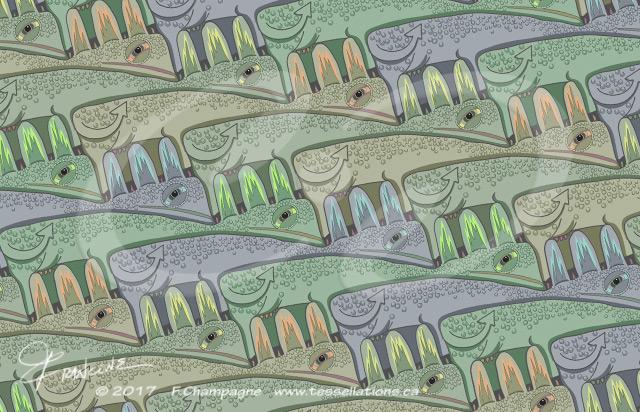Cowzilla tessellation by Francine Champagne, ©2013 — Symétruc de valézar