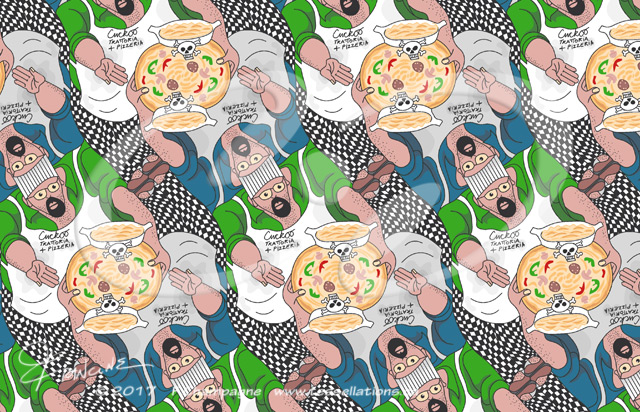 Cuckoo Trattoria and Pizzeria tessellation by Francine Champagne, ©2016 — Symétruc d'empoisonement