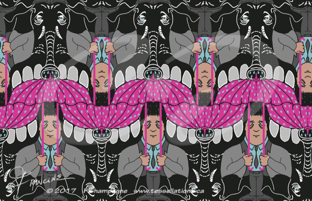 It's Raining Elephants tessellation by Francine Champagne, ©2013 — Symétruc de pluie d'éléphants