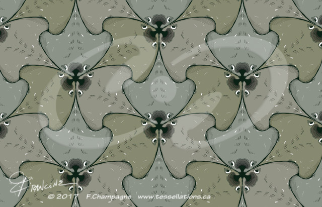 Manta Ray tessellation by Francine Champagne, ©2013 — Symétruc de raies