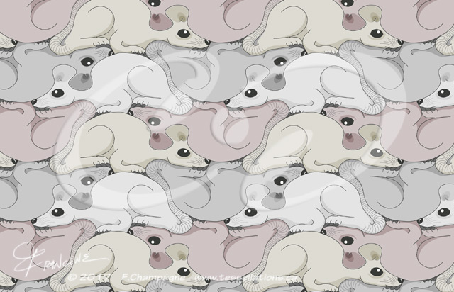 Mouse tessellation, symétruc souris, tessellation by F.Champagne ©2014, tessellations.ca