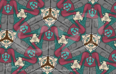 First tessellation done with KaleidoPaint, in December 2012, OmegaBoy Tessellation, ©2012-2017, www.tessellations.ca
