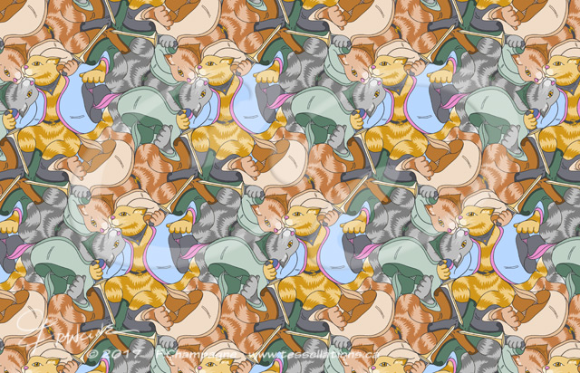 Puss 'n Boots, a tessellation by Francine Champagne, ©2014