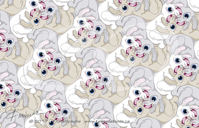 Rabid Rabbits tessellation by Francine Champagne, ©2013