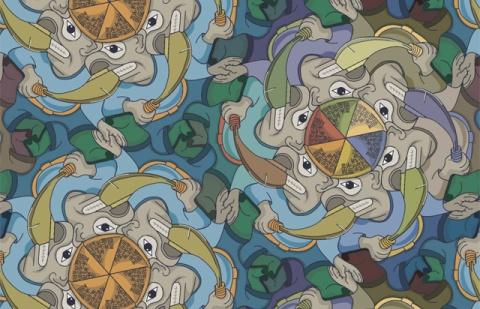 Machete Wielding Whaler tessellation ©F.Champagne