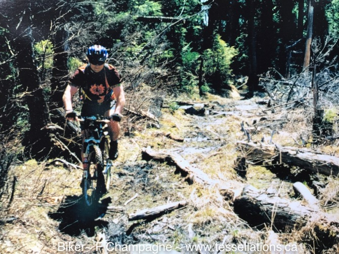 Mountain Biker In Halliburton Forest, Dog Lake Trail, 1999 F.Champagne www.tessellations.ca