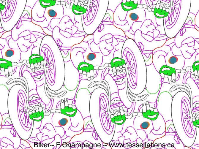 Mountain Biker Tessellation ©2017 F.Champagne www.tessellations.ca