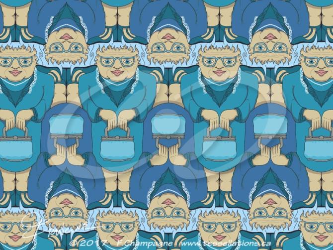 Blu Rinse with Handbag  tessellation by Francine Champagne, ©2018