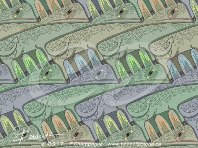 Cowzilla tessellation with updated colour scheme, by Francine Champagne, ©2014 — Symétruc de valézar
