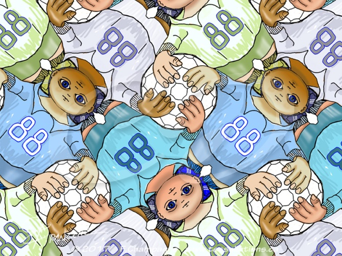 Soccer Kid tessellation by Francine Champagne © 2016