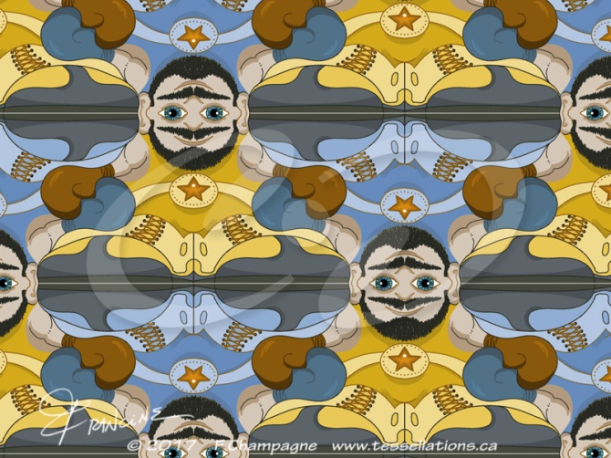 Unibrow Boxer tessellation, recoloured by Francine Champagne, ©2018
