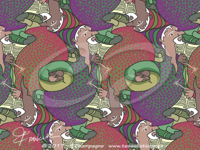 Wizard tessellation by Francine Champagne, ©2018 with new colorways