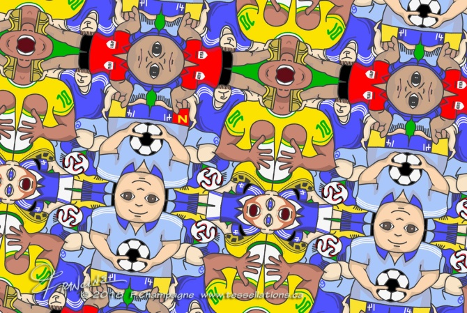 Neymar Rolling tessellation ©2018 F.Champagne, with the added red card!